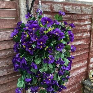 Purple Artificial Flower Hanging Basket