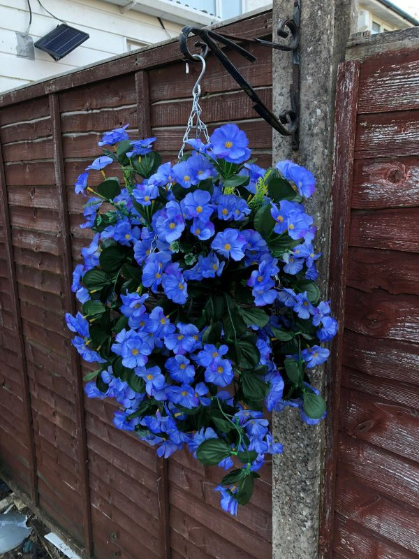 Blue artificial flower hanging basket