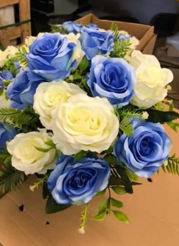 blue and ivory artificial flowers