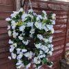 white artificial flower hanging basket