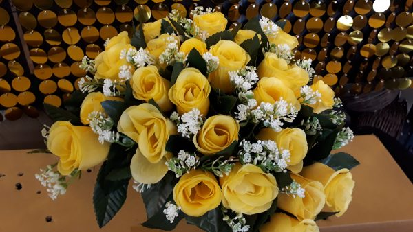 Yellow with Gyp artificial flowers