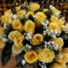 Artificial Flowers, Bunch of Yellow Roses 24 Heads with Gyp, Ideal for Weddings, Graves, Gardens or Home