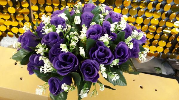 Purple BUNCH WITH GYP ARTIFICIAL FLOWERS