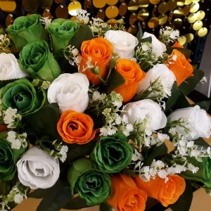 Artificial Flowers, Bunch of Orange White and Green Roses with Gyp, Ideal for Weddings, Graves, Gardens and Home