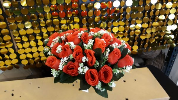 Bunch RED Roses with Gyp