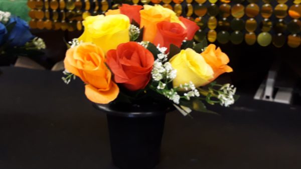 Artificial Flowers, Black Plastic Grave Pot with Yellow, Orange and Red Rosebuds & Gyp