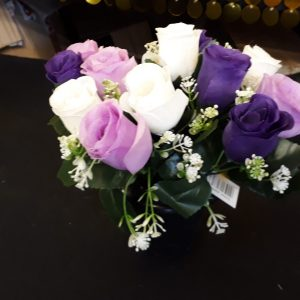 Purple ivory nd lilac rose pot