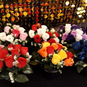 Artificial Flowers, Black Plastic Grave Pots with Assorted Rosebuds & Gyp, Any 3 for £10