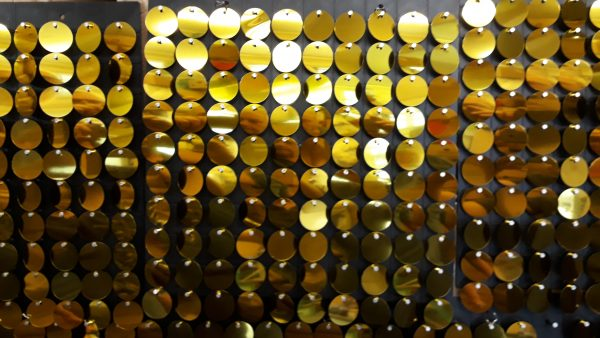 Black Plastic Glitter Panel with 100 Gold Discs
