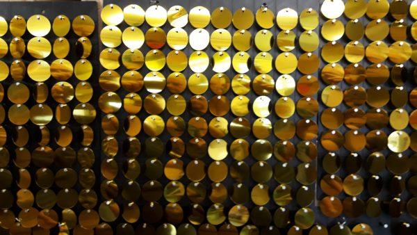 Black Plastic Glitter Panel with 100 Gold Discs