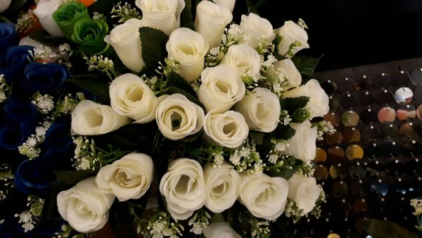 Artificial Flowers, Bunch of Ivory Roses 24 Heads with Gyp, Ideal for Weddings, Graves, Gardens and Home