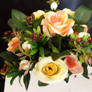 Open Rose Yellow and Peach with Berries and Foliage 8 Heads