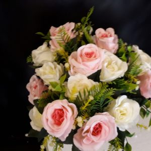 41cm Artificial Flowers, Large Open Pink & Ivory Rose Bush, 18 Heads With Foliage, Ideal for Weddings, Graves, Garden and Home