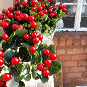 Artificial, 38cm Large Berry Dark Red Bush, Ideal for Christmas, Weddings, Graves and Home, Min Order on this Item