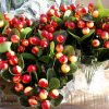 Artificial, 38cm Large Berry Orange & Cream Bush, Ideal for Christmas, Weddings, Graves and Home, Min Order on this Item