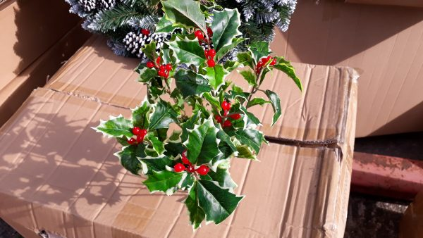 Artificial 40cm Large Holly & Berry Bush, Variegated, Ideal for Christmas, Weddings, Graves, Gardens and Home, Min Order on this Item