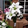 Artificial 85cm Lily Spray, 2 Heads 1 Bud, Ivory, Ideal for Christmas, Weddings, Graves and Home, Min Order on this Item