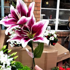 Artificial 66cm Lily Spray, 2 Heads 1 Bud, Dark Pink & Cream, Ideal for Christmas, Weddings, Graves and Home, Min Order on this Item
