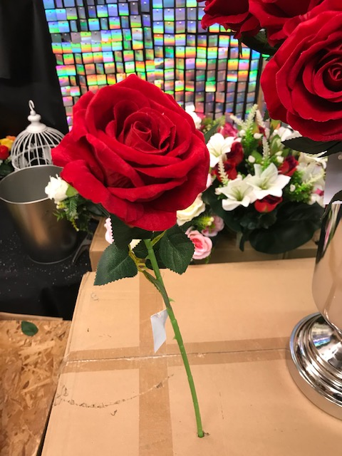 Artificial 51cm Single Stem Luxury Velvet Touch Open Rose, Ideal for Christmas, Weddings, Home and Graves, Min Order on this Item